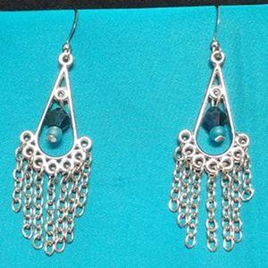 Jewelry - Silver Tear Drop Shaped Earrings with Chain